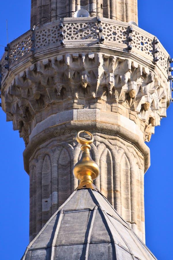 Turecki Meczetowy Minaretowy szczegół z tradycyjnym symbolem obrazy stock