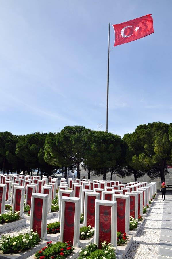 Turecki Militarny cmentarz Gallipoli, nagrobek obrazy stock
