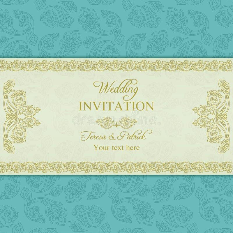 Turecki ogórkowy ślubny zaproszenie, złoto i błękit, royalty ilustracja