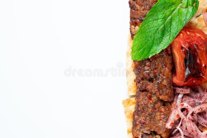 Turecki shish Adana kebab zdjęcie royalty free