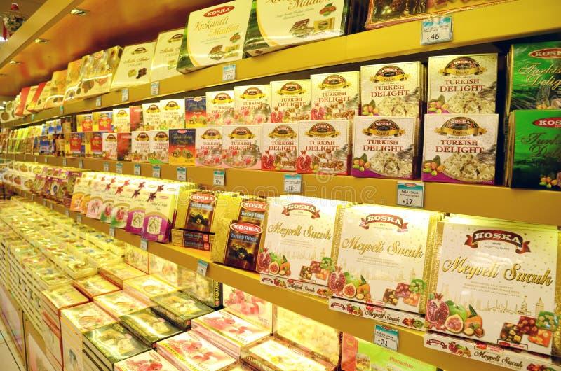Turecki zachwyt, cukierki, cukierku sklep w Taksim okręgu obrazy royalty free