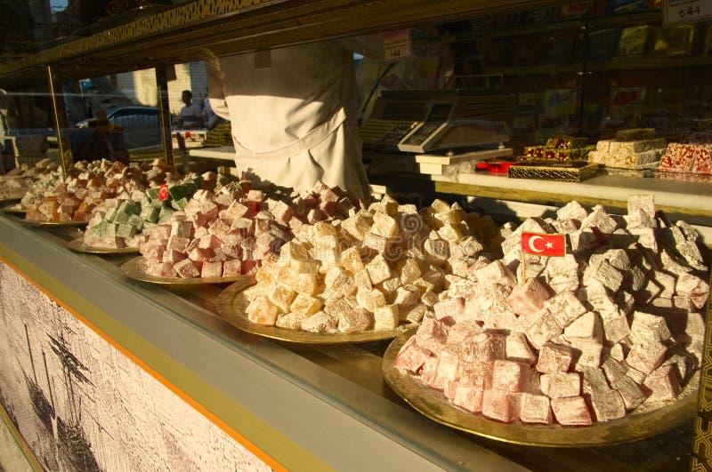 Tureckich deserów słodki lokum, turecki talerz cukierki obraz stock
