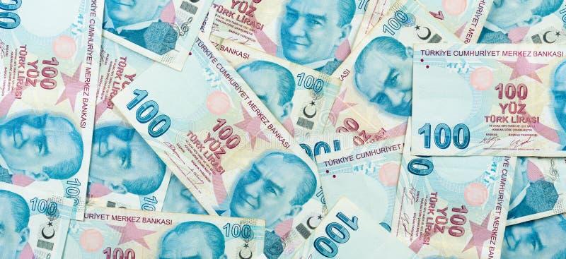 100 Tureckiego lira banknotów fotografia stock