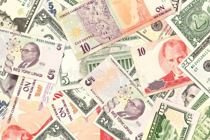 Tureckiego lira i amerykanina dolara banknoty zdjęcia stock