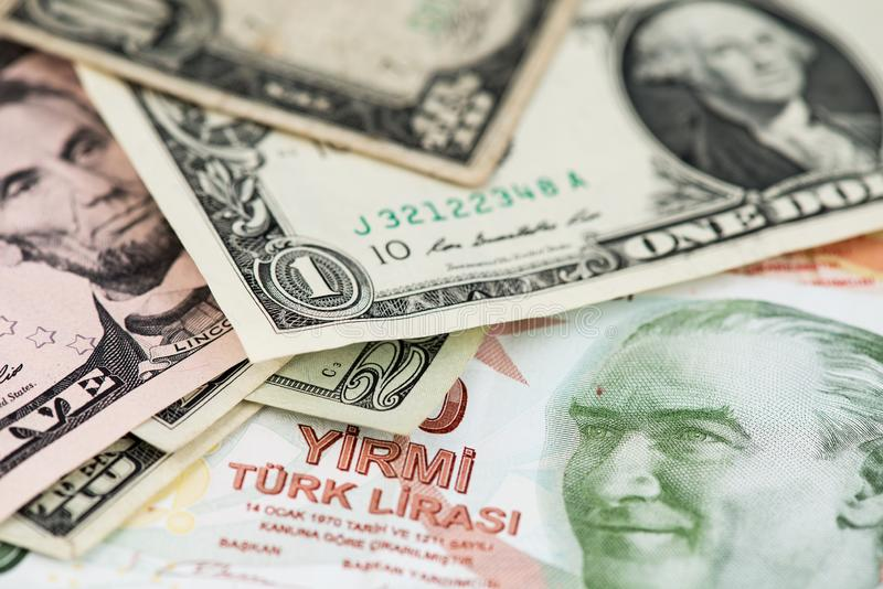 Tureckiego lira i dolara amerykańskiego banknoty zamykają w górę wizerunku zdjęcie stock