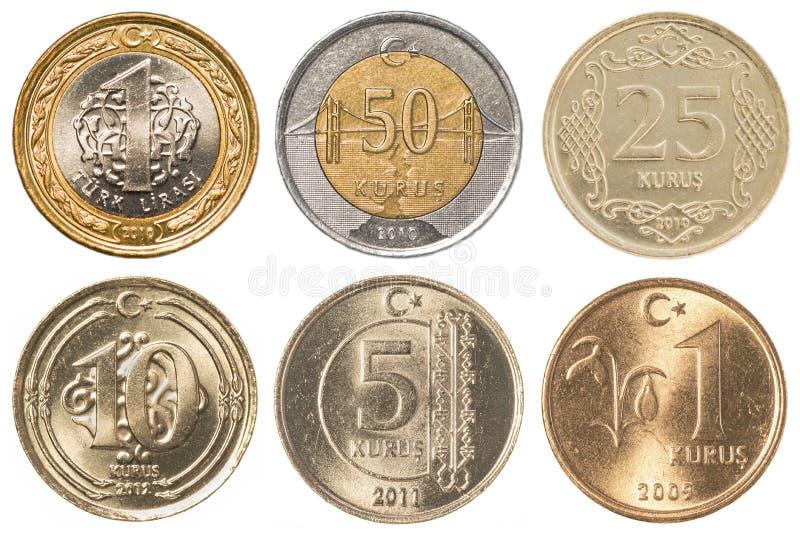Tureckiego lira monet kolekci set zdjęcie royalty free