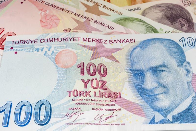 Tureckiego lira moneta w circulaton i banknoty obrazy royalty free