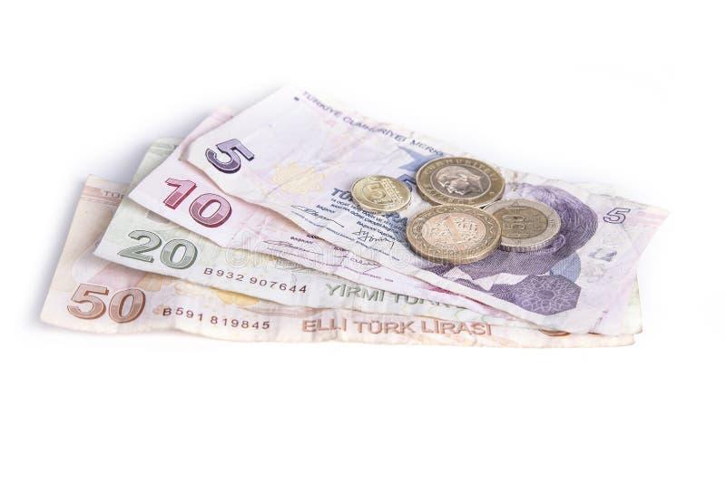 Tureckiego lira monety na czarny i biały tle i rachunki zdjęcie royalty free