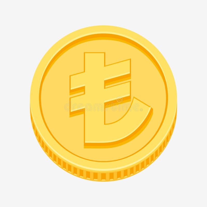 Tureckiego lira waluty symbol na złocistej monecie ilustracji