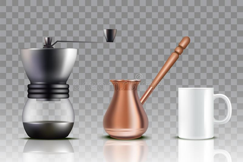 Tureckiej kawy set, wektorowa realistyczna ilustracja royalty ilustracja