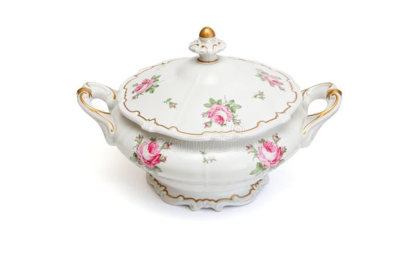 Tureen da porcelana do vintage isolado fotos de stock royalty free