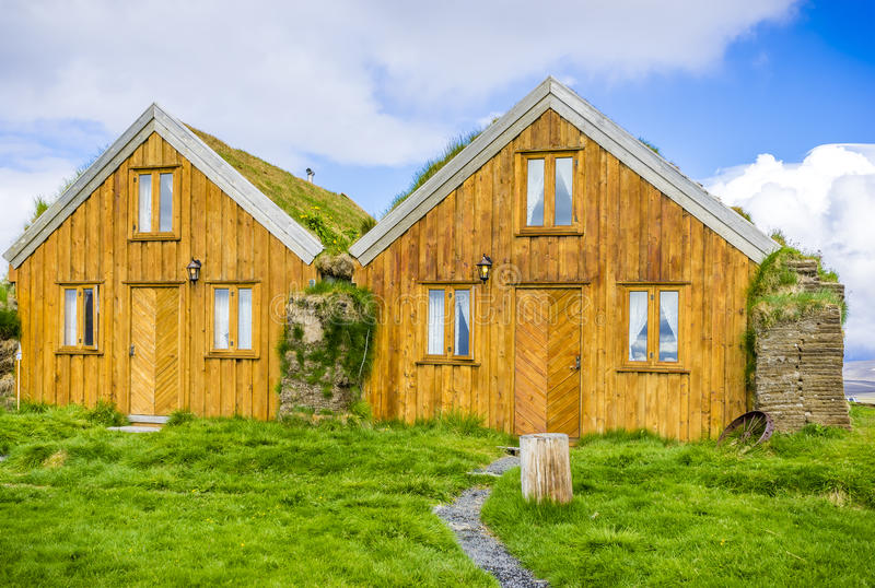 Turf covered houses at Modrudalur, North Iceland stock photography
