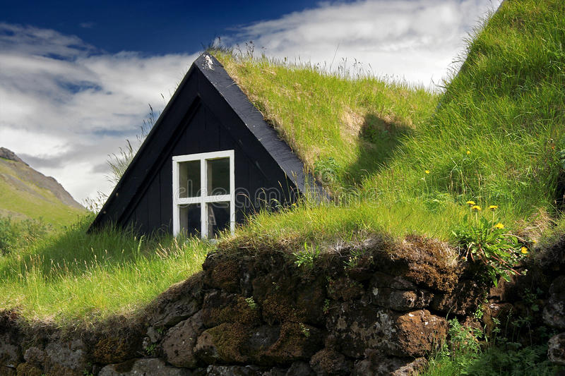 Download Turf roof house stock image. Image of building, cloud - 13304297