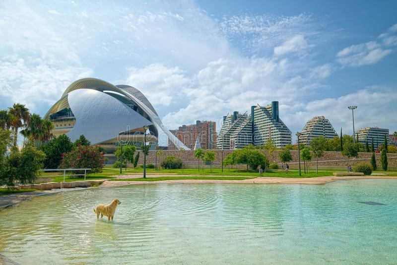 Turia Gardens in Valencia, Spain. VALENCIA, SPAIN - AUGUST 30, 2018: Landscape in public park Jardines del Turia (Gardens of Turia) of Valencia city royalty free stock images