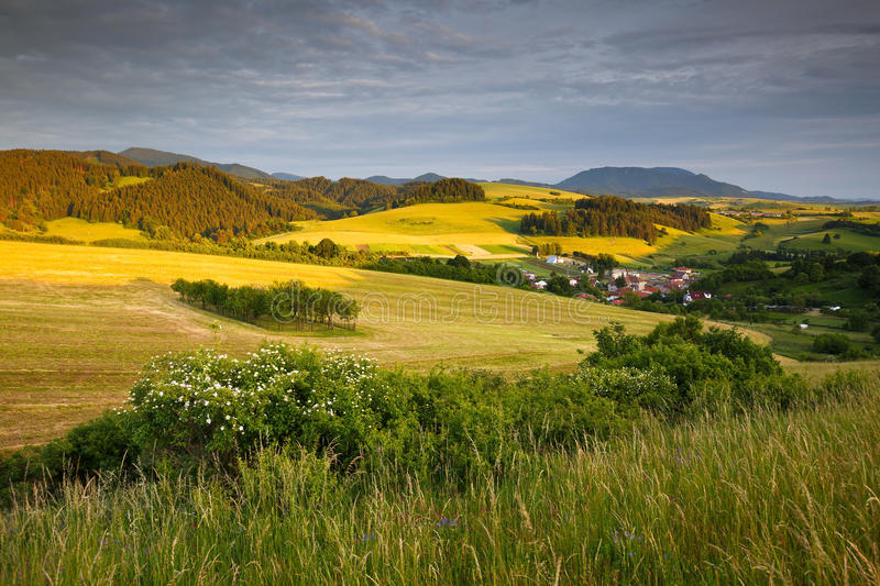 Turiec, Slovakia. View of a typical landscape of Turiec region, northern Slovakia royalty free stock photography