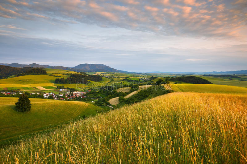 Turiec, Slovakia. View of a typical landscape of Turiec region, northern Slovakia stock images