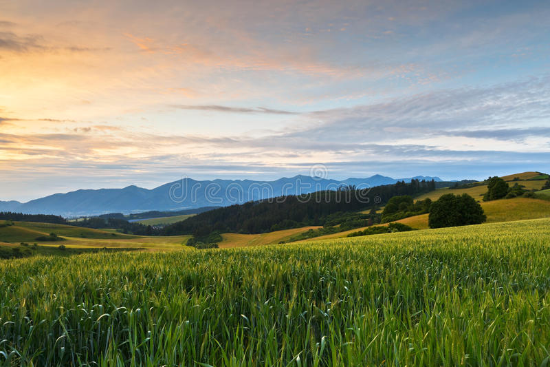 Turiec, Slovakia. View of a typical landscape of Turiec region, northern Slovakia stock photos