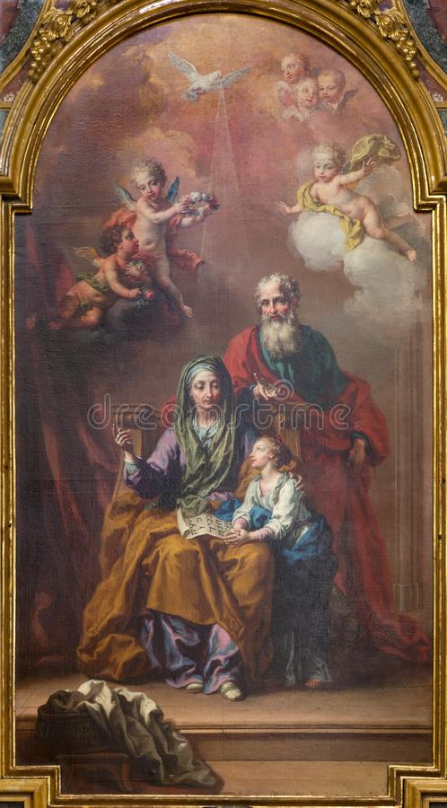 Turijn - de fresko van engelen met marianic inschrijving van litanie en de Bak van Covernant in kerk Chiesa Di San Francesco royalty-vrije stock fotografie
