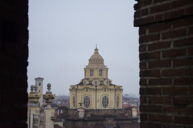 Turijn, de kerk van San Lorenzo stock fotografie