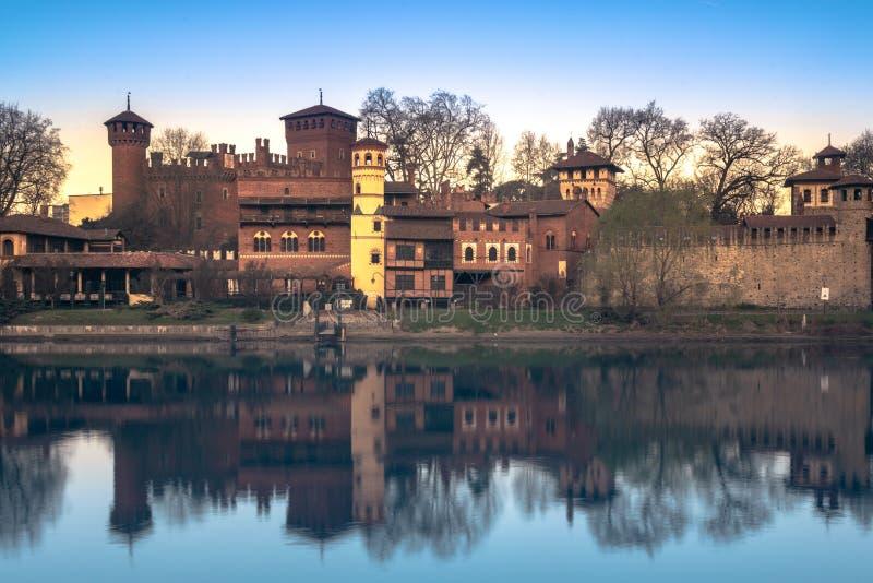 Turijn, het middeleeuwse dorp van valentino royalty-vrije stock foto's