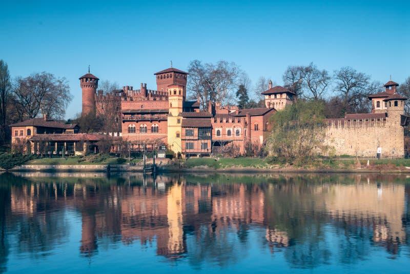 Turijn, het middeleeuwse dorp van valentino royalty-vrije stock foto