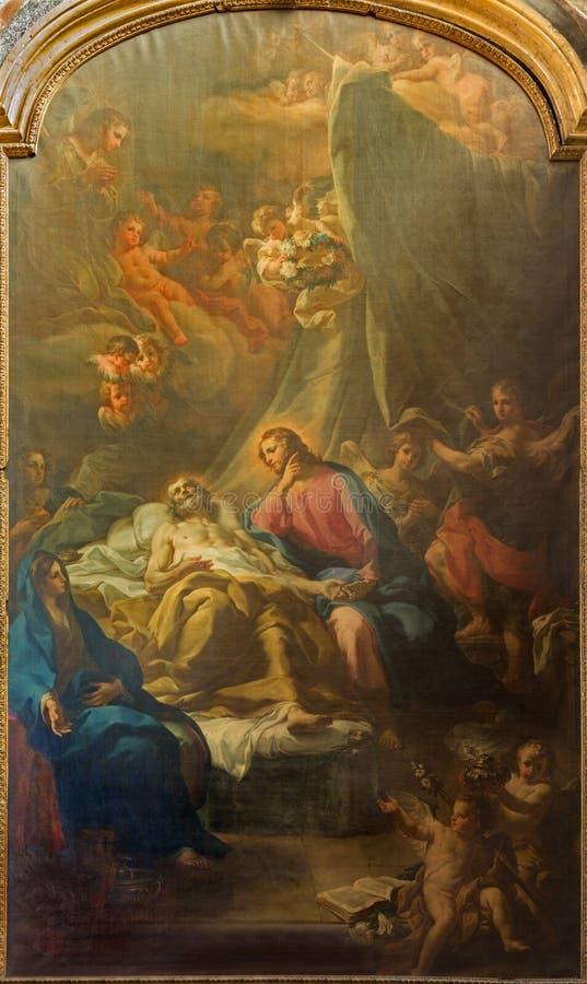 Turijn - het schilderen van Dood van St Joseph Transito di San Giuseppe op het zijaltaar in Di Santa Teresa van kerkchiesa royalty-vrije stock afbeelding