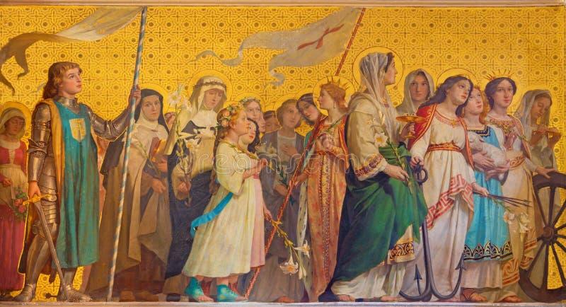 TURIJN, ITALIË - MAART 15, 2017: De symbolische fresko van heilige virgins in kerk Chiesa Di San Dalmazzo royalty-vrije stock afbeeldingen
