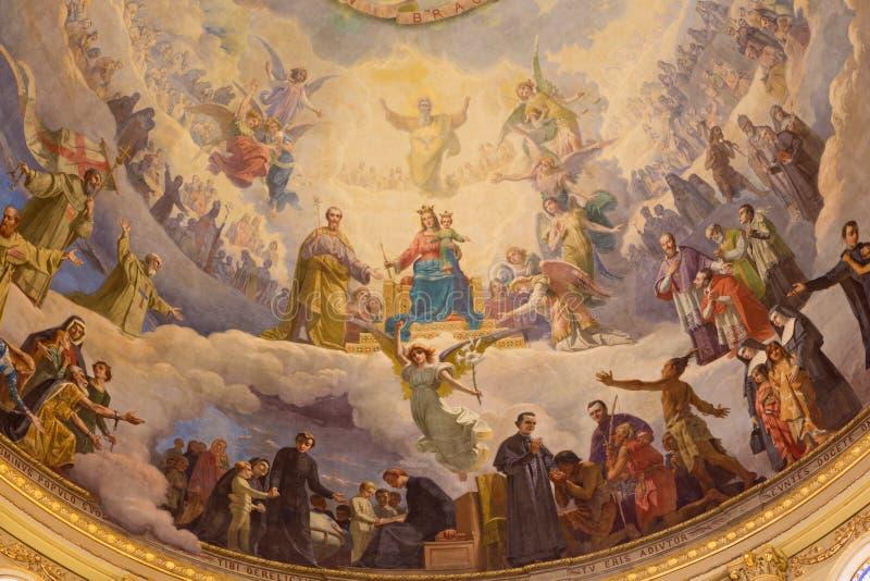 TURIJN, ITALIË - MAART 15, 2017: Het detail van fresko Mary Help van Christenen in koepel van kerkbasiliek Maria Ausiliatrice royalty-vrije stock fotografie
