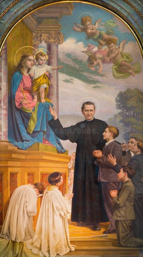 TURIJN, ITALIË - MAART 15, 2017: Het schilderen van Don Bosco en Mary Help van Christenen in kerkbasiliek Maria Ausiliatrice royalty-vrije stock fotografie