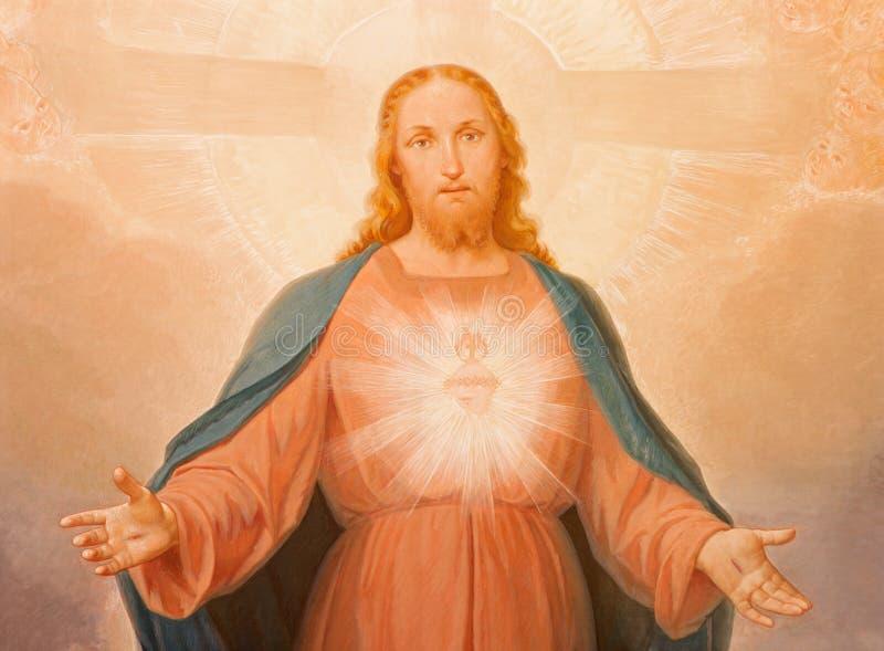 TURIJN, ITALIË - MAART 14, 2017: Het schilderen van Heilig Hart van Jesus in Di Santa Maria della Consolazione van kerkchiesa stock afbeeldingen