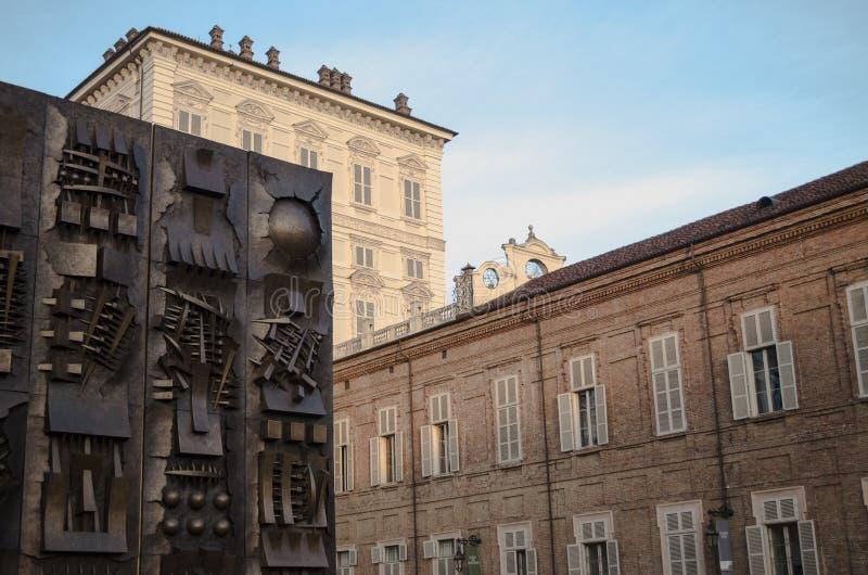 Turijn, Piazza Castello royalty-vrije stock fotografie