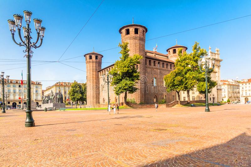Turijn, Piemonte, Italië, 18 Augustus 2017 kasteelvierkant in Turijn, stock foto