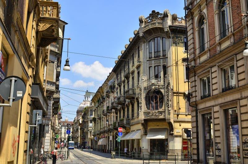 Turijn, Piemonte, Itali? Juni 2018 Casa Florio Nizza stock foto