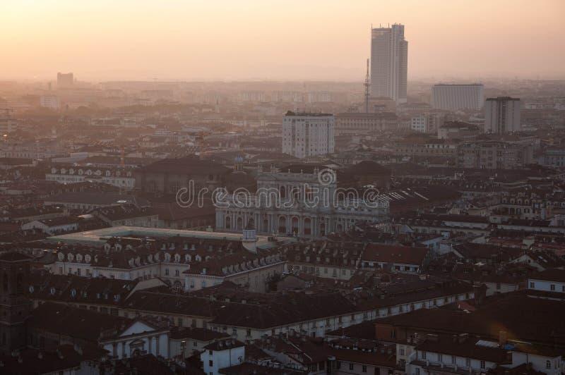 Turin au coucher du soleil images libres de droits