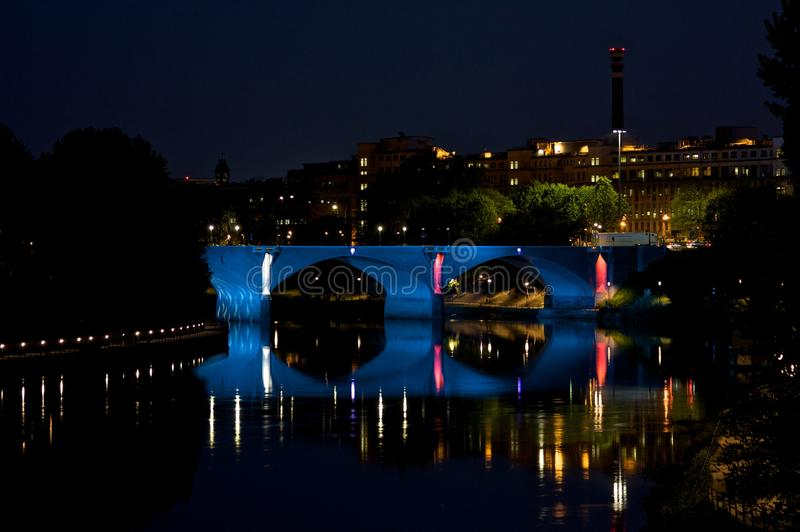 Turin Bridge by night royalty free stock images