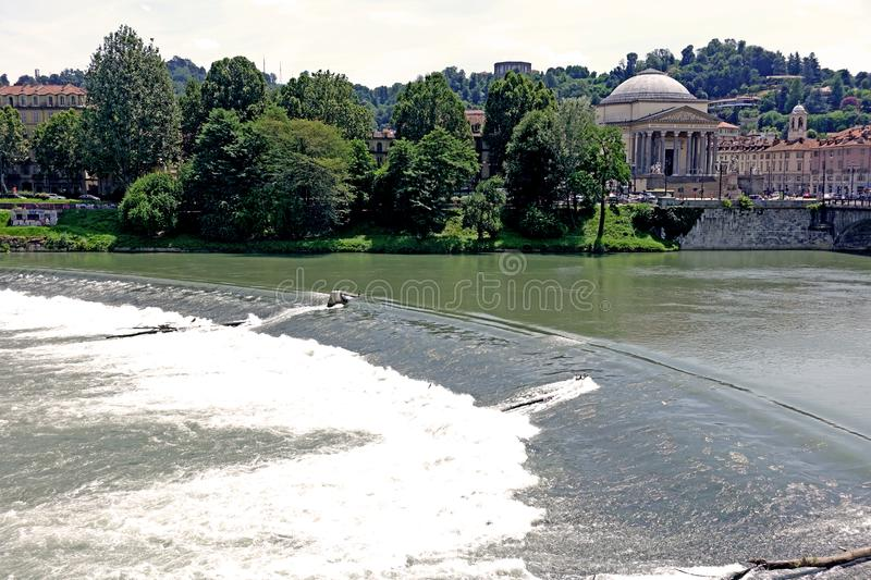 Turin Church of the Great Mother of God and river PO royalty free stock image