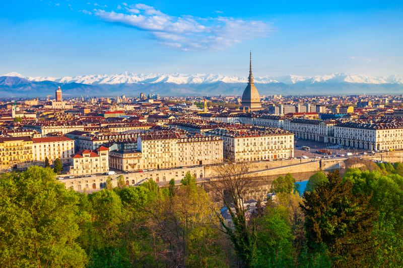 Turin city aerial vew, northern Italy. Turin city aerial panoramic view, Piedmont region of Italy royalty free stock image