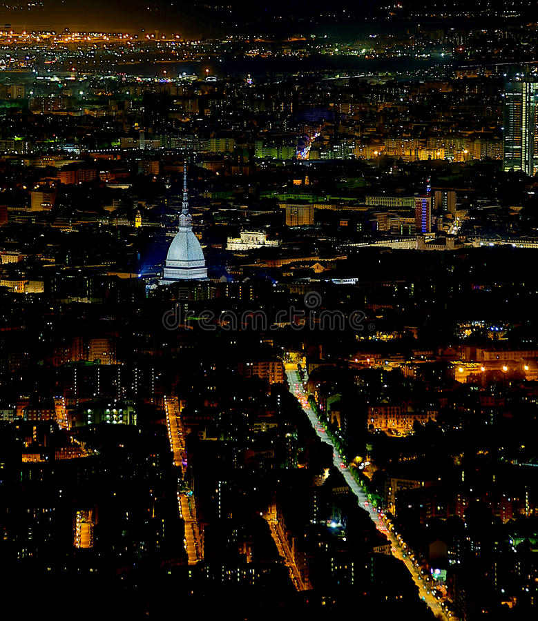 Turin city Aerial view with the illuminated buildings and houses stock photo