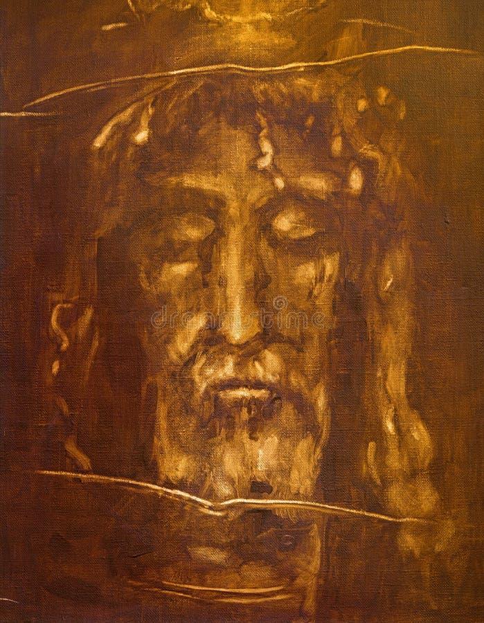 Turin - die Malerei von Jesus Christ stellen vom Leichentuch von Turin durch unbekannten Künstler von Cent 20 gegenüber stockfoto
