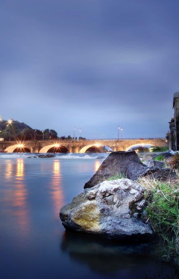 Turin em Noite imagens de stock royalty free