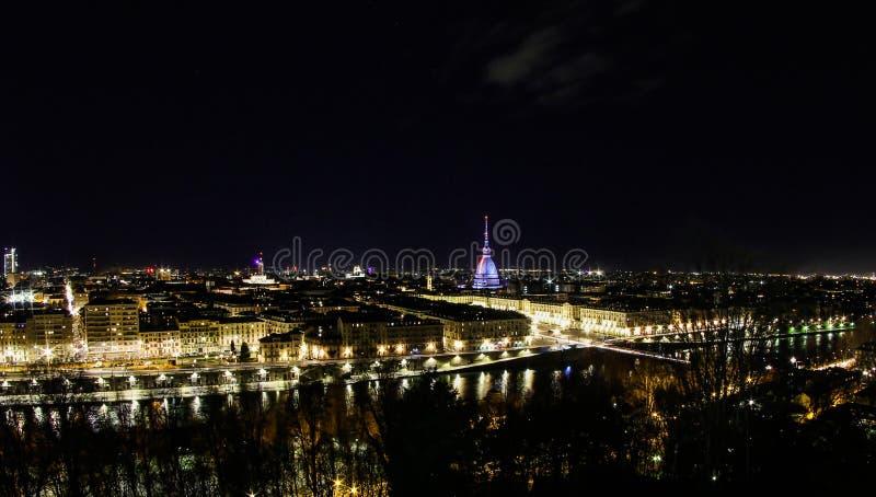 Turin em Noite foto de stock royalty free