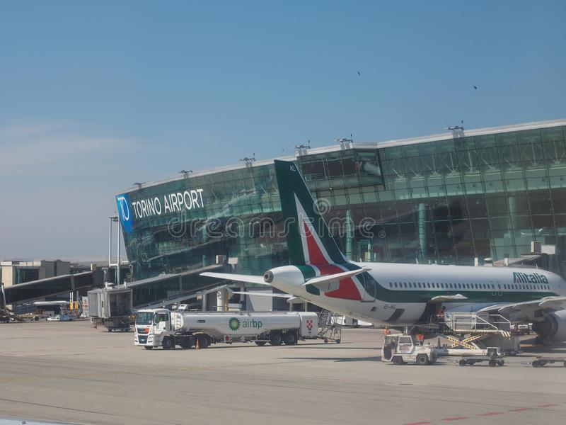 Turin flygplats i Caselle royaltyfria foton