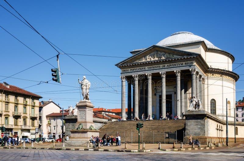 Turin, igreja de Gran Madre foto de stock royalty free