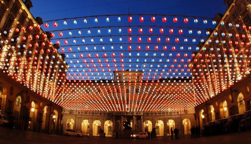 Turin iluminado para o Natal fotografia de stock royalty free