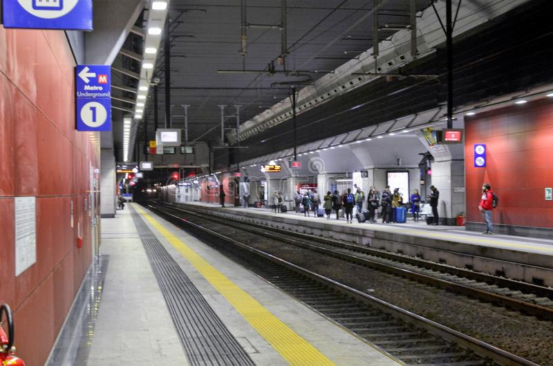Turin, interior Porta Susa railway station. Turin, Piedmont, Italy. March 2019. The interior of the Porta Susa station, a modern and futuristic glass and steel stock image