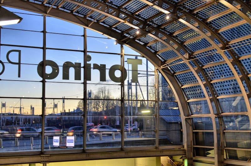 Turin, interior Porta Susa railway station. Turin, Piedmont, Italy. March 2019. Towards dusk the inside of the Porta Susa railway station, a modern and stock photography