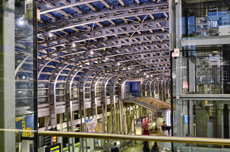 Turin, interior Porta Susa railway station. Turin, Piedmont, Italy. March 2019. Towards dusk the inside of the Porta Susa railway station, a modern and stock images
