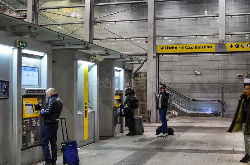 Turin, interior Porta Susa railway station. Turin, Piedmont, Italy. March 2019. Towards sunset the interior of the Porta Susa station, a modern and futuristic stock photos