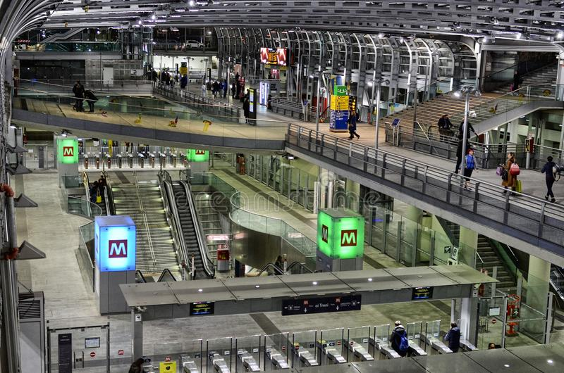 Turin, interior Porta Susa railway station. Turin, Piedmont, Italy. March 2019. Towards sunset the interior of the Porta Susa station, a modern and futuristic stock images