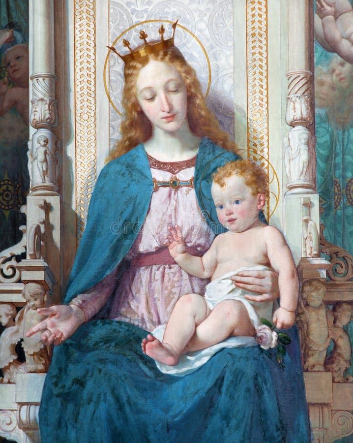 TURIN, ITÁLIA - 16 DE MARÇO DE 2017: O detalhe de pintura de Madonna com Saint na igreja Chiesa di San Filippo Neri por Enrico Re fotografia de stock